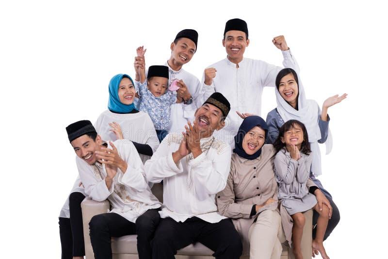 Asiatisches moslemisches kareem Familie eid Mubarak Ramadan lizenzfreies stockbild