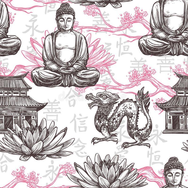 Asiatisches nahtloses Muster lizenzfreie abbildung