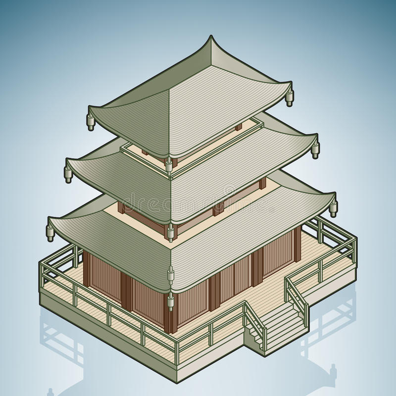 Asiatisches Stupa vektor abbildung