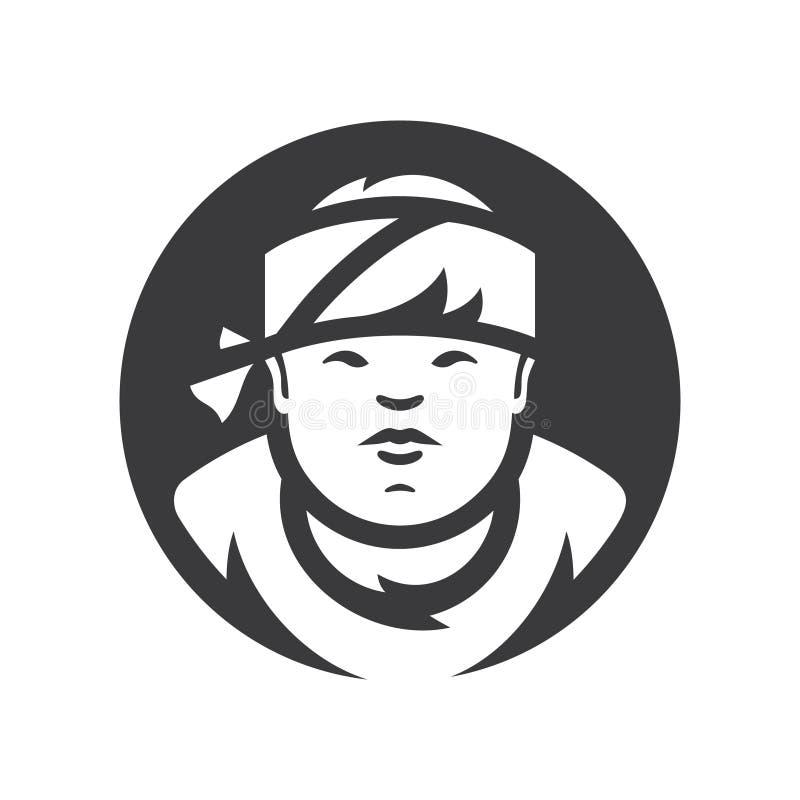 Asiatisches Sushi-Chef-Vector-Schattenbildzeichen vektor abbildung