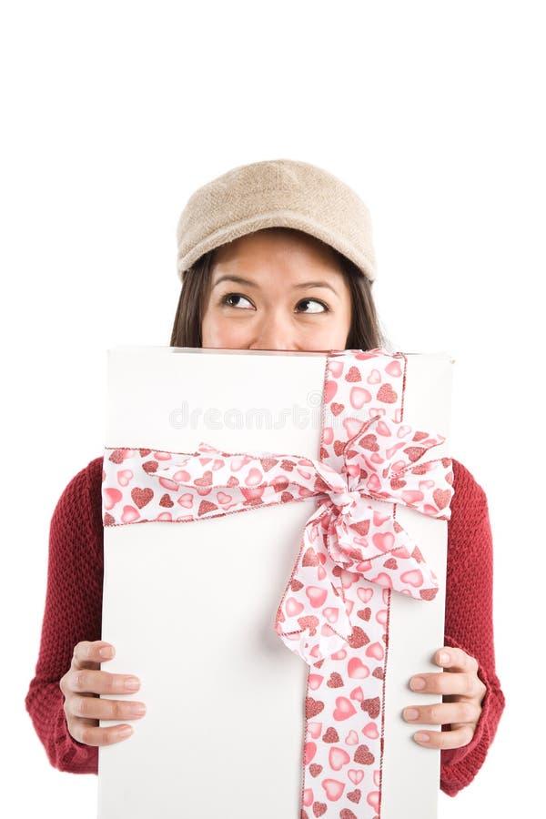 Asiatisches Valentinsgrußmädchen lizenzfreies stockfoto