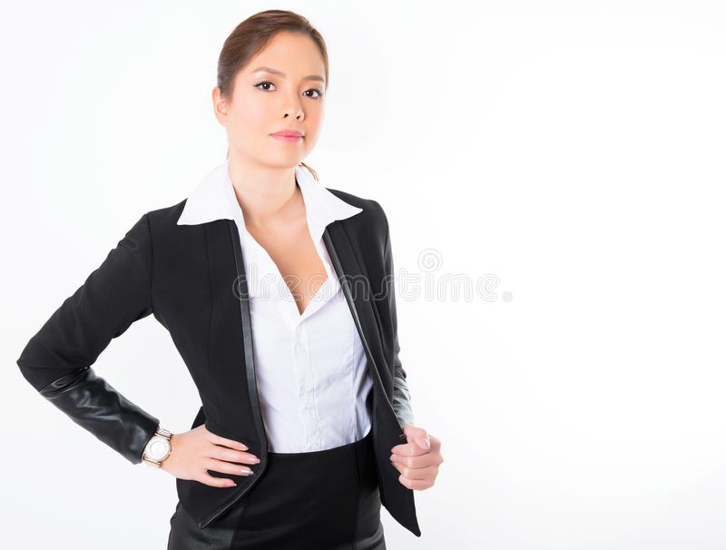 Asiatisk affärskvinna på vit bakgrund med kopieringsutrymme royaltyfria foton