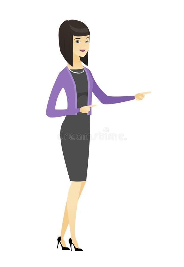 Asiatisk affärskvinna som pekar till sidan stock illustrationer