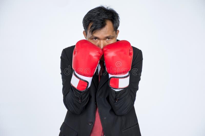Asiatisk affärsman med den röda boxninghandsken på vit bakgrund royaltyfri fotografi