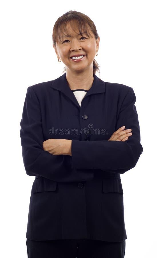 asiatisk affärspensionärkvinna royaltyfria foton
