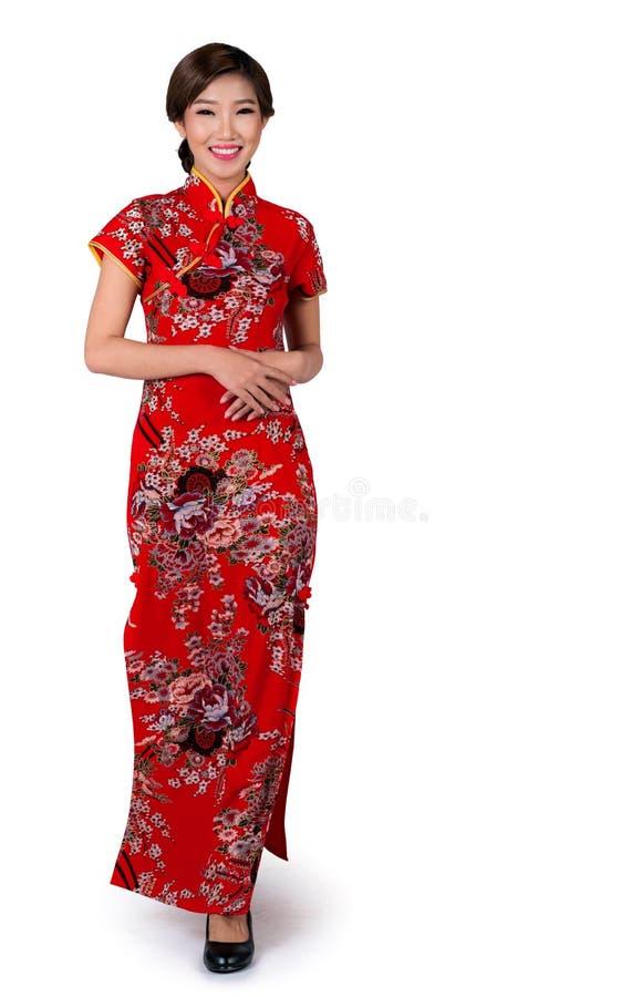 Asiatisk dam i kinesisk klänning för nytt år royaltyfri foto