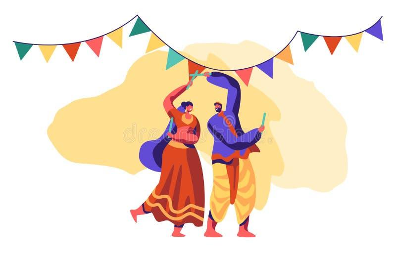 Asiatisk dans på den nationella festivalen i Indien Traditionell dansa show Folkdansare Performing Folk Choreography på ceremon vektor illustrationer