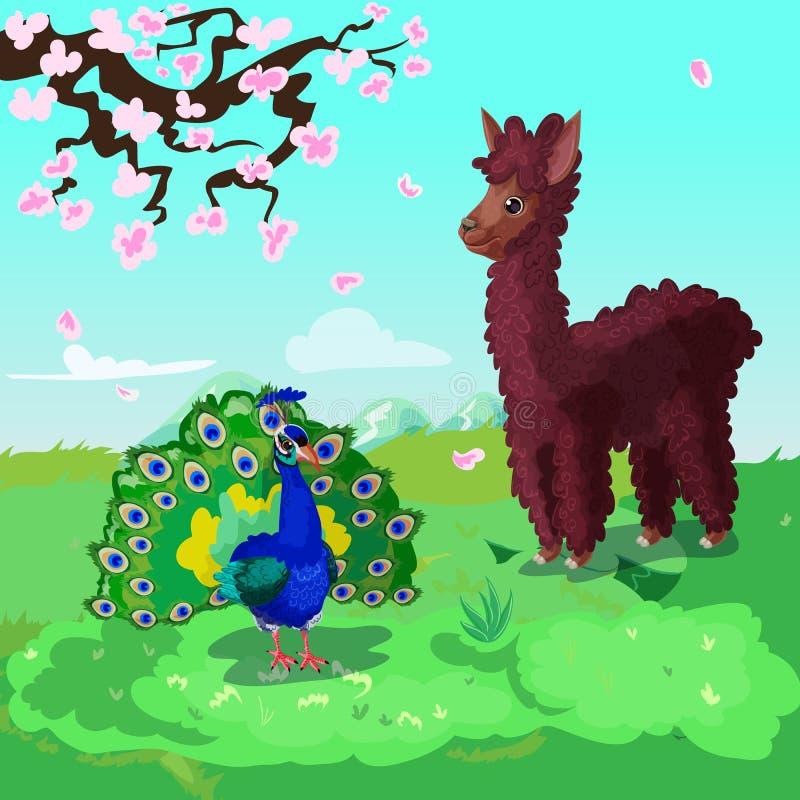 Asiatisk djurbakgrund för färgrik tecknad film stock illustrationer
