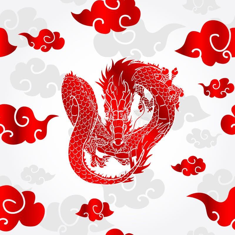 Asiatisk drake för flyg och molnmodell royaltyfri illustrationer
