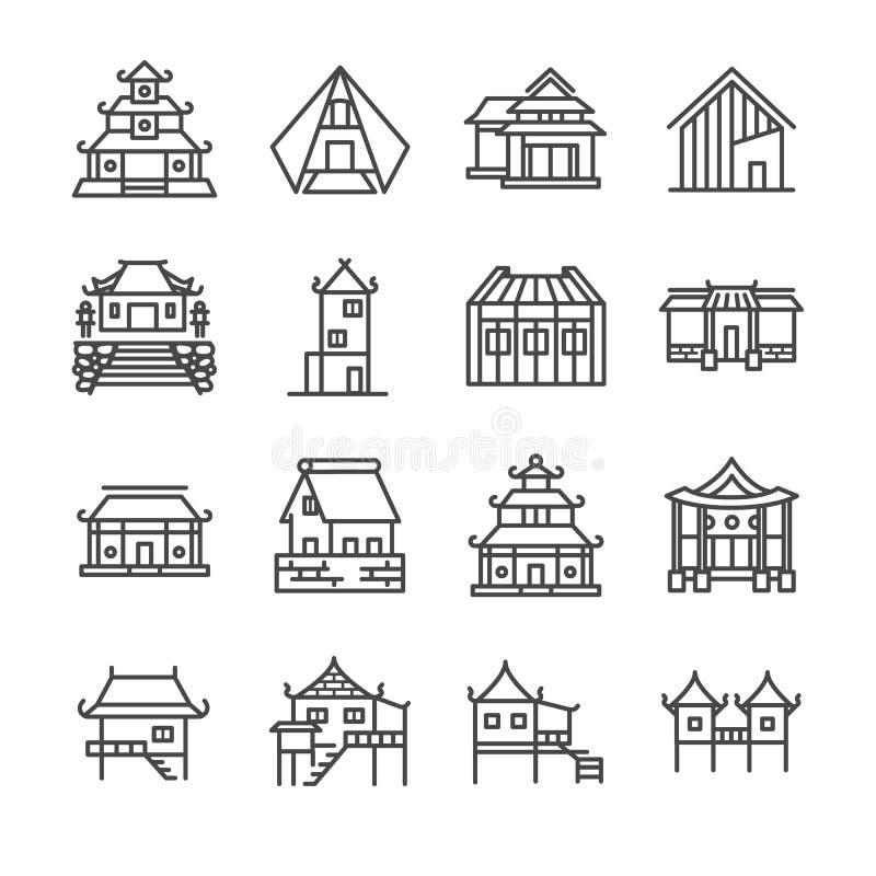 Asiatisk egenskapslinje symbolsuppsättning Inklusive symbolerna som thailändskt hus, japanskt hus, kinesiskt hus, slott, hem, god vektor illustrationer