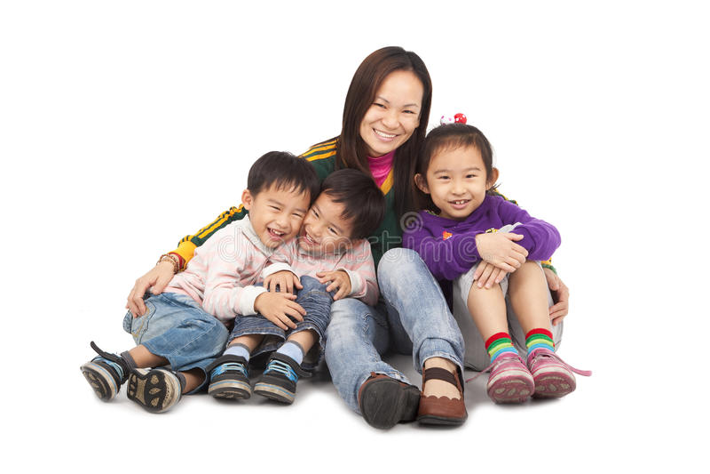 asiatisk familjmoder s arkivfoto