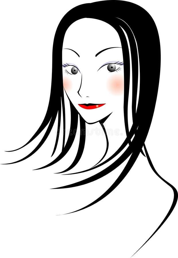 asiatisk flicka royaltyfri illustrationer