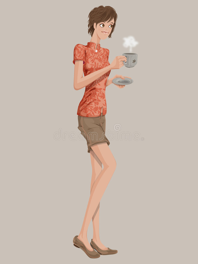asiatisk flicka för kaffekopp vektor illustrationer