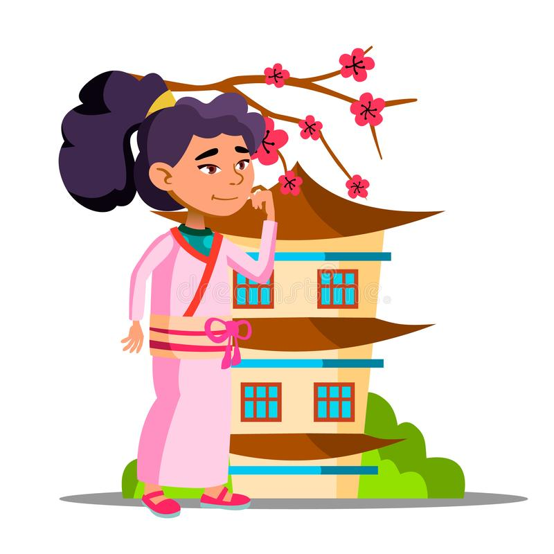 Asiatisk flicka nära Sakura And Her House Vector isolerad knapphandillustration skjuta s-startkvinnan stock illustrationer