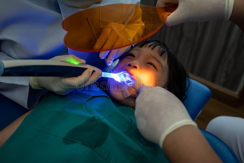 Asiatisk flicka som får tand- fyllnads- behandling på kindtandtanden royaltyfri foto