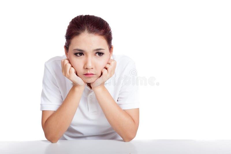 Asiatisk flicka som matas upp arkivbilder