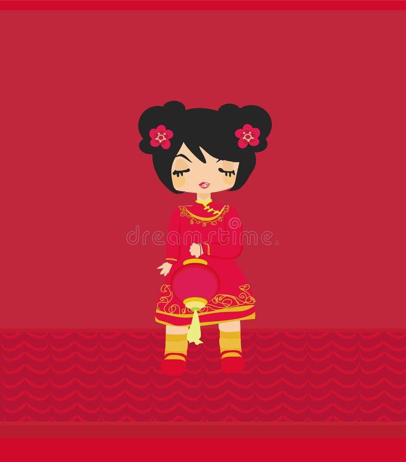 Asiatisk flicka som rymmer en lykta royaltyfri illustrationer