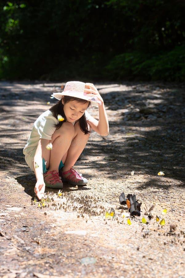 Asiatisk flicka som sitter i skogen, den gulliga lilla flickan som studerar och lär naturen, gruppen av fjärilar på jordningen oc royaltyfria bilder