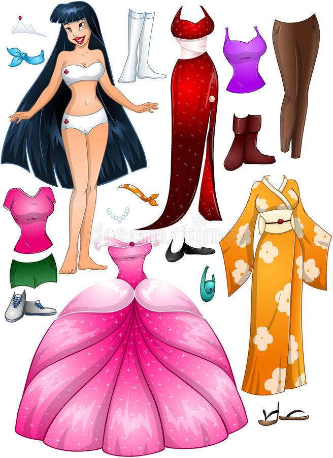 Asiatisk flickaprinsessa Dress Up vektor illustrationer