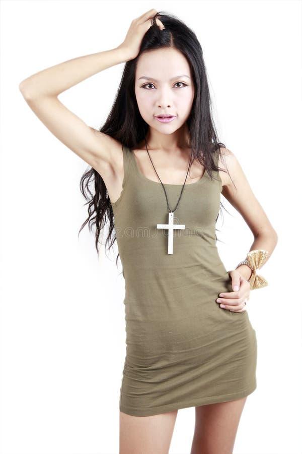 asiatisk flickastående royaltyfri foto