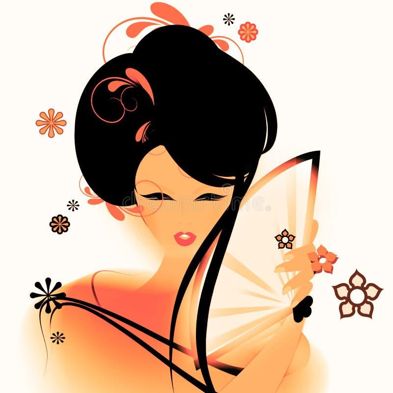Asiatisk flickatapet arkivfoton