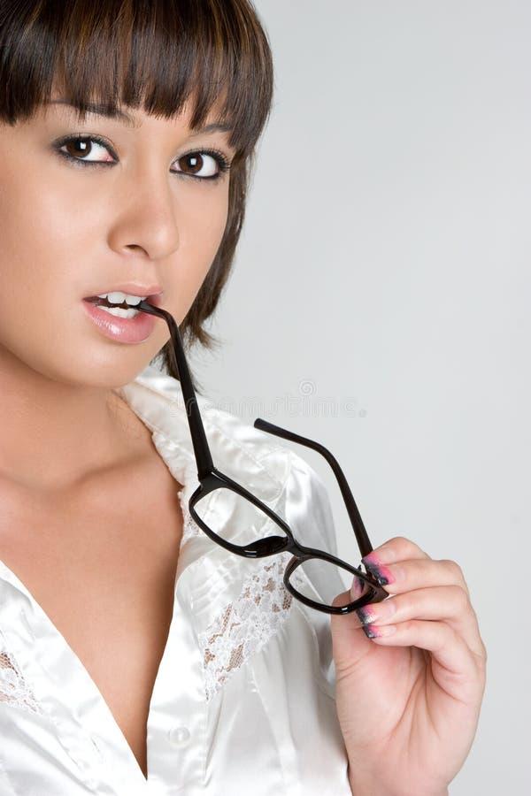 asiatisk glasögonflicka arkivfoton