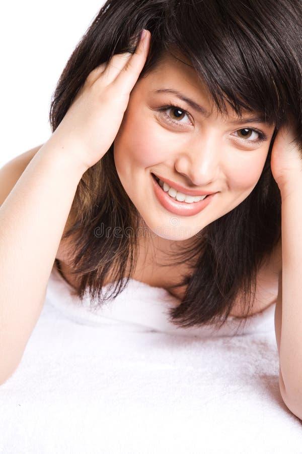 asiatisk härlig flickabrunnsort royaltyfri fotografi