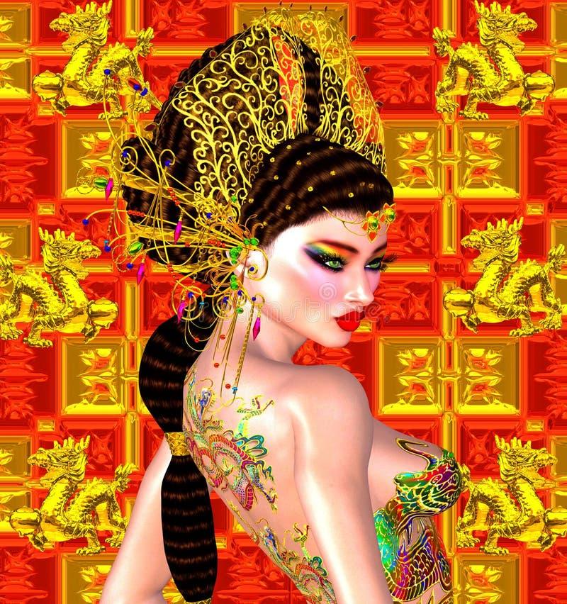 Asiatisk härlig kvinna, draketatuering på henne tillbaka, färgrik makeup och behå arkivfoto