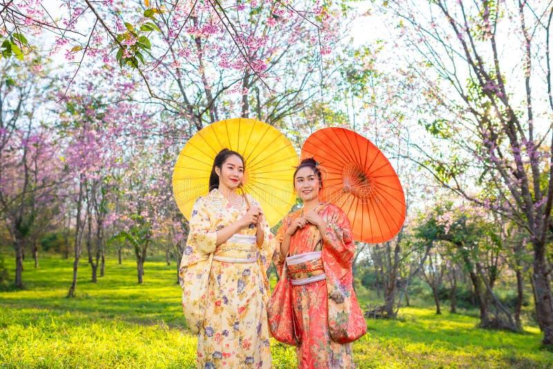 Asiatisk härlig kvinna som bär den traditionella japanska kimonot och den körsbärsröda blomningen i våren, Japan royaltyfri fotografi