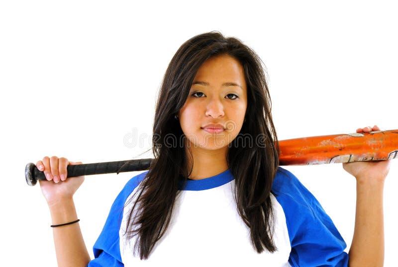 asiatisk härlig kvinnligspelaresoftball arkivbild