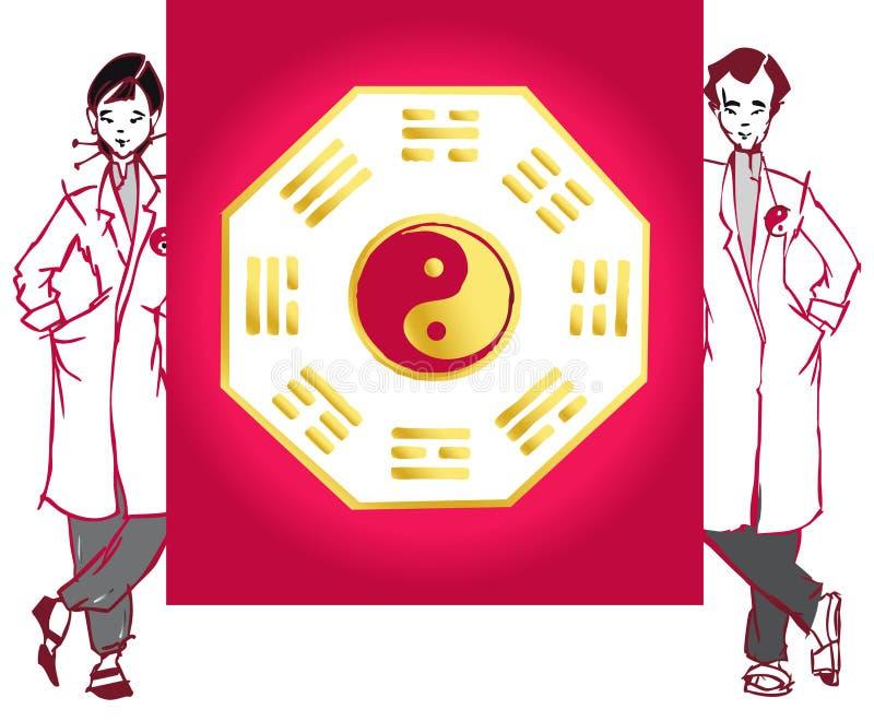 asiatisk jobbserieterapeut royaltyfri illustrationer