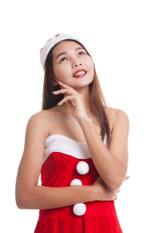 Asiatisk julSanta Claus flicka royaltyfri fotografi