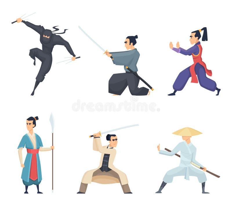 Asiatisk kämpe Man för det Japan för den hållande katanaen isolerade traditionella tecken för vektorn för ninjaen för samurajer f royaltyfri illustrationer