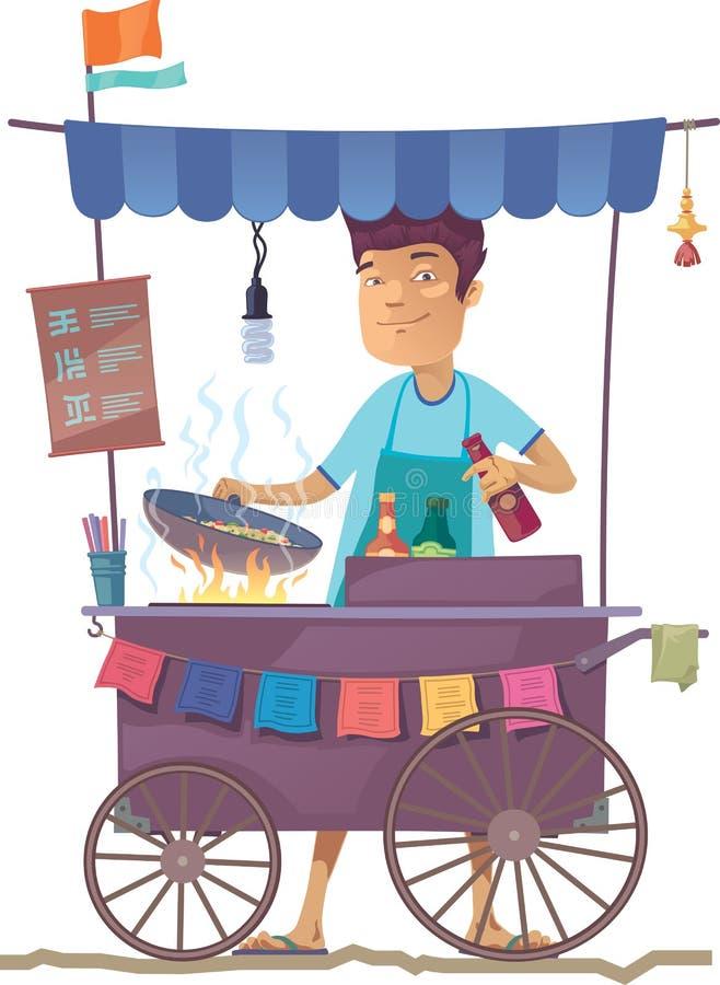 asiatisk kökgata stock illustrationer