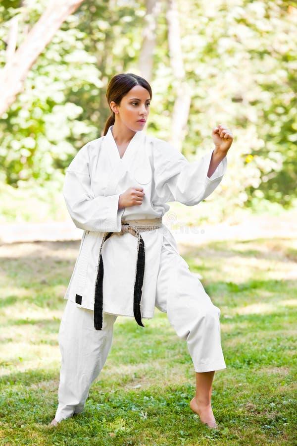 asiatisk karateövning arkivbild