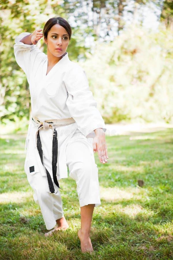 asiatisk karateövning arkivfoto