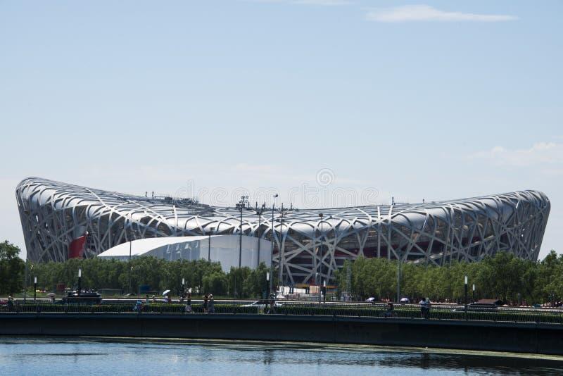 Asiatisk kines, Peking, den nationella stadion, fågelboet royaltyfri bild