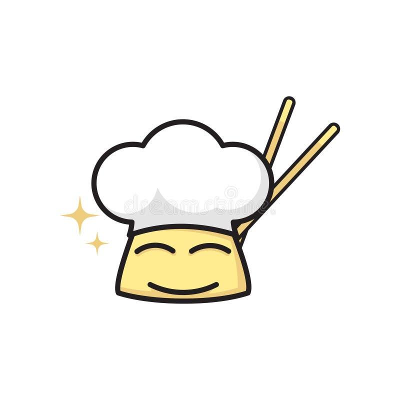 Asiatisk kinesisk kock Cartoon Cook med pinnar Logo Symbol stock illustrationer