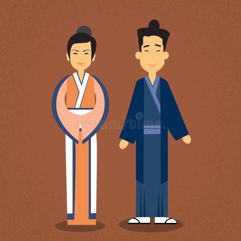 Asiatisk kläder för kläder för kvinna för parAsien man traditionell stock illustrationer