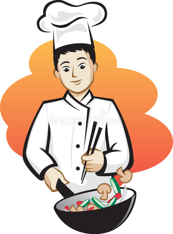 asiatisk kock vektor illustrationer