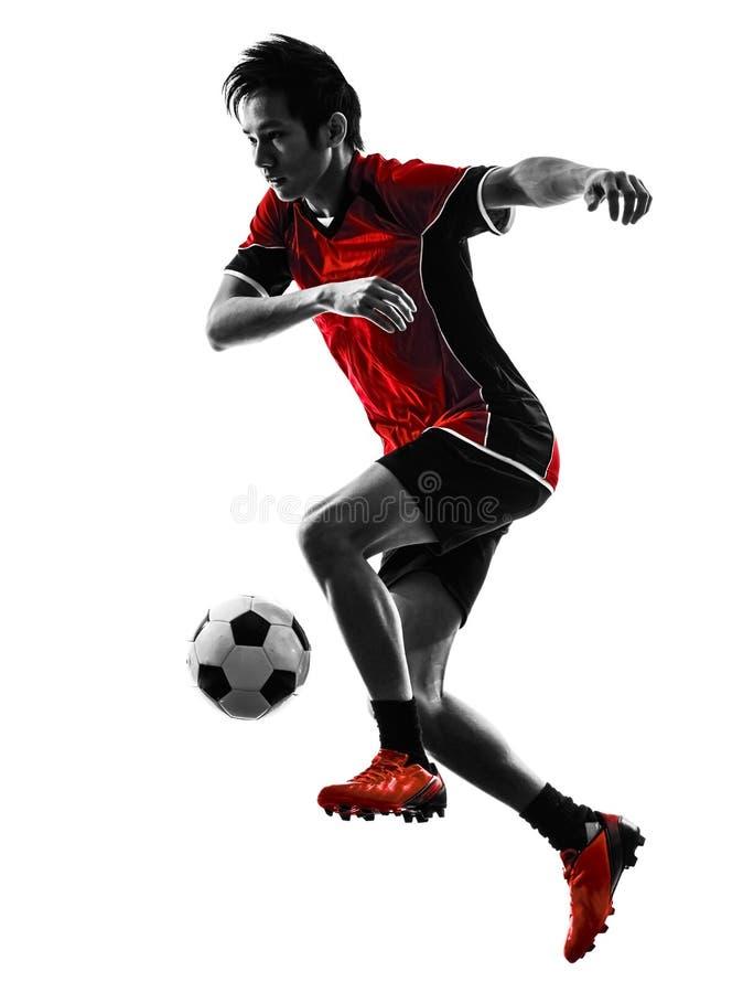 Asiatisk kontur för ung man för fotbollspelare arkivbilder