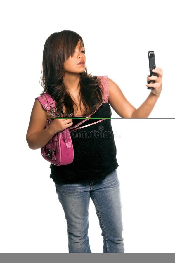 asiatisk kvinna för celltelefon royaltyfria foton