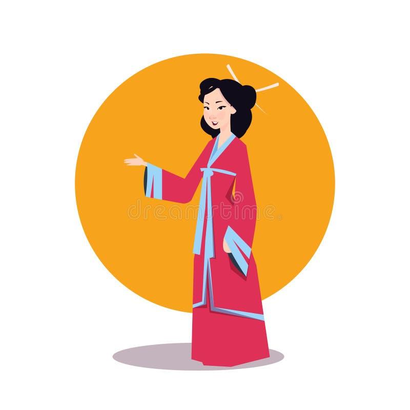Asiatisk kvinna i den härliga geishaen Wearing Traditional Dress för japansk kimono vektor illustrationer