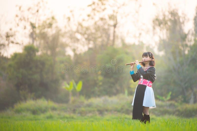 Asiatisk kvinna i risfält för stamklänningwalki n och att spela på en flöjt, stamlivsstilbegrepp med kopieringsutrymme royaltyfri bild