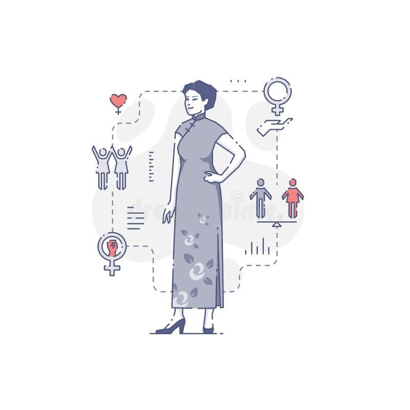 Asiatisk kvinna i traditionell klänning royaltyfri illustrationer