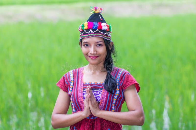 Asiatisk kvinna i traditionell klänning på risfält royaltyfri bild