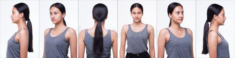 Asiatisk kvinna, innan att applicera sminkhårstil royaltyfri foto
