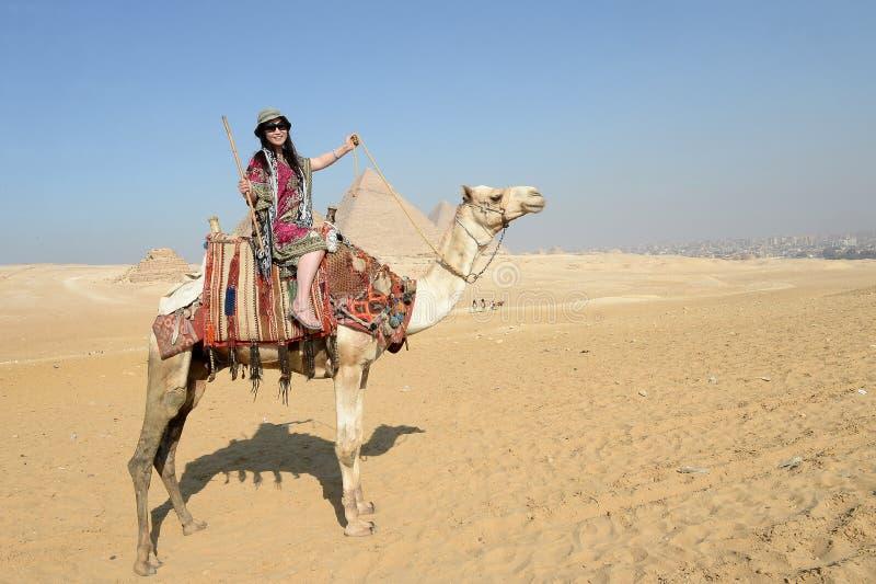 Asiatisk kvinna på kamel fotografering för bildbyråer