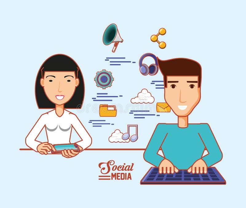 Asiatisk kvinna som använder mobiltelefonen och mannen med sociala massmediaapps för tangentbord royaltyfri illustrationer