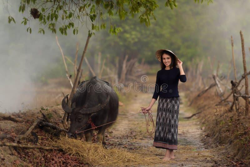 Asiatisk kvinna som bär den typiska (traditionella) thailändska klänningen royaltyfria foton